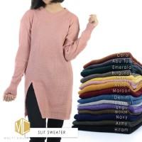 SLIT SWEATER - baju rajut korea - sweater rajut wanita - baju hijab -