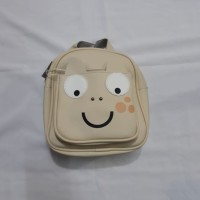 Tas Backpack Mini Katak CREAM IMPORT BAHAN KULIT PU LEATHER