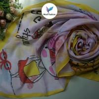 jilbab Hijab kerudung segi empat motif kartun lucu warna kuning pink