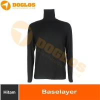 Baselayer Hangat Kaos Outdoor Gunung Warm Stretch Cotton Hitam