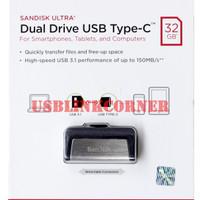 Flashdisk SanDisk OTG Type C 32gb USB 3.1 Up To 150MBps