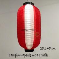 lampion capsule kain jepang 25 x 45 cm outdoor merah putih restoran