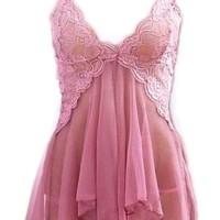Vera Sexy Lingerie Babydoll Mesh Layer Transparan G String Dusty Pink