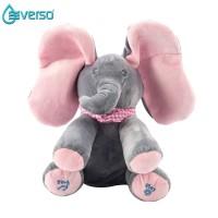 Mainan Boneka Plush Gajah Dapat Bermain Cilukba Bernyanyi untuk Bayi