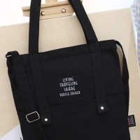 Korea Tote Bag Canvas / Tas Selempang Wanita / Shoulder Bag - Zgrb