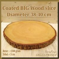 Coated Big wood slice 38-40 cm for side table nampan talenan hiasan