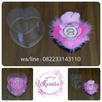 kotak kado romantis box cincin bunga pink