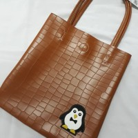 Tote Bag Pinguin COKELAT BATA IMPORT KUALITAS BAHAN KULIT PU LEATHER