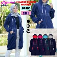Jaket Hijab Wanita Muslimah Hijacket Basic Navy, All size M fit L