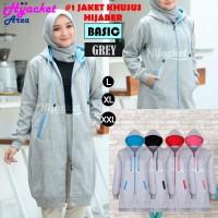 Jaket Hijab Wanita Muslimah Hijacket Basic All Grey, All size M fit L