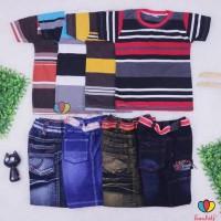 Best Brand Kinta Fashion Setelan Salur Jeans Uk 3-5 Tahun / Kaos Anak