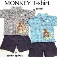 Best Seller Baju Fashion Setelan Kemeja Celana Denim Banana Anak Laki
