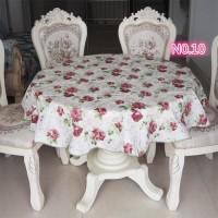 Round Taplak Meja makan bulat Anti Air PEVA Bundar motif bunga import