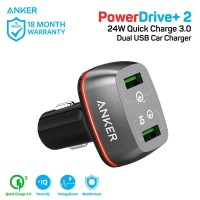 Charger Mobil Anker PowerDrive+ 2 Quick Charge 3.0 Black - A2224
