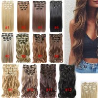 Wig Clip in Hair Extensions Thick Long 16 Clips Straight/Big Curly