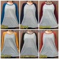 Kaos Raglan Panjang Polos size FIT TO XXL / atasan wanita bestseller