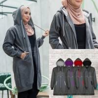 Jaket Hijab Wanita Muslimah Hijacket Basic Misty, All size M fit L