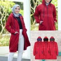 Jaket Hijab Wanita Muslimah Hijacket Basic Maroon, All size M fit L