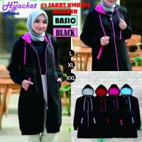 Jaket Hijab Wanita Muslimah Hijacket Basic Black, All size M fit L