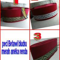 Jual peci Betawi bludru merah aneka renda pilihan Limited