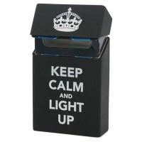 Cover Kotak Rokok Silicone Motif Keep Calm and light Up - Black