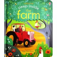 Usborne peep inside the farm buku import anak