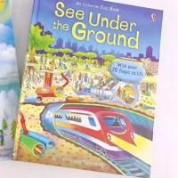 Usborne flap book see under the ground buku import anak