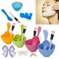 Set Mangkuk Masker Mask Bowl Lulur Kuas Sendok Masker Facial 4in1 Brus