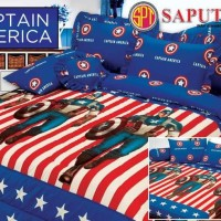 New Bed Cover Set Sprei Rumbai Saputra 180 X 200 Captain America