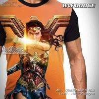 Kaos Wonder Woman | Kaos Cewek Superhero | Kaos 3D - Putih, Ukuran