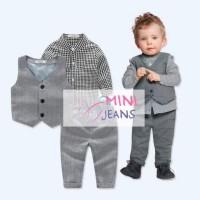 Baju Setelan Anak Laki Mini Jeans Kemeja Kotak Hitam Rompi Celana Abu