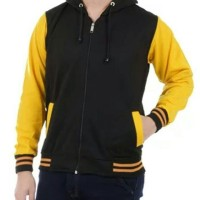 Jaket Sweater hitam lengan kuning dan lainnya