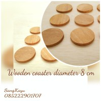 TERMURAH Tatakan gelas kayu alami 8cm Natural wooden coaster alas kayu