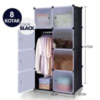 Lemari plastik rak buju rak serbaguna lemari pakaian 8 pintu