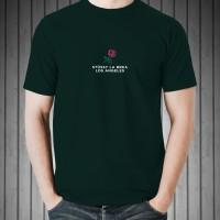 Kaos Distro T-Shirt Black Stussy La Brea Los Angeles O6102