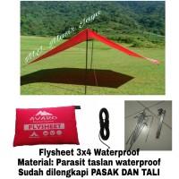 Flysheet 3x4M waterproff sudah dengan pasak dan tali