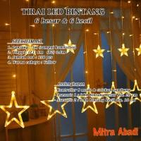 Lampu Natal Tirai LED Bintang Kuning/Yellow 138 LED 3 Meter