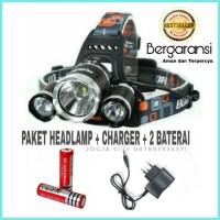 Paket Senter kepala Headlamp Cree XM-L T6 5000 Lumens charger baterai
