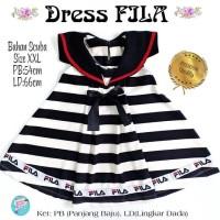Dress Anak FILA motif stripe bahan scuba premium
