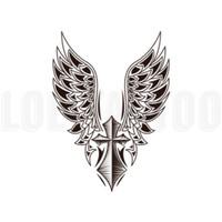 Lolitattoo Temporary Tattoo Cross Wing 3