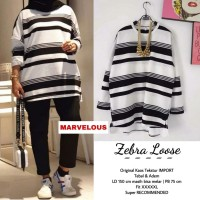 Zebra loose. Atasan wanita. Tunik garis terlaris by marvelous