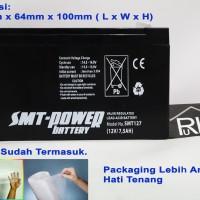 Baterai Aki Kering UPS VRLA MF SLA SMT-Power SMT127 12v 7.5ah 7ah