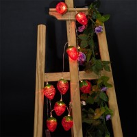 Battery-Powered Red Strawberry String Light for Home and Garden