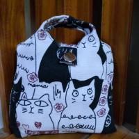 Tas lipat cangklong full kanvas bagus kuat shopping bag foldable