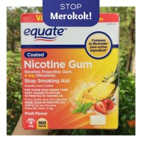 Nicotine Gum 4 mg Equate 10 PCS Permen Nikotin |Fruit Flavor|Uncoated