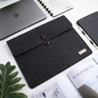 "UCHII Portable Laptop Felt Bag Holder | File Map Kain Kancing 15.4"" L"