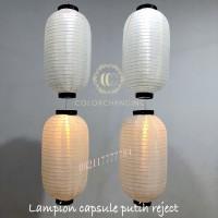 lampion capsule putih reject 25 x 45 cm dekorasi jepang lonjong murah