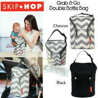Skiphop Grab and Go Double Bottle Bag - Zig Zag Zebra