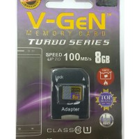 MicroSD V-GeN Turbo 8GB + Adapter Class 10 Memory Card Micro SD VGEN