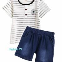 Setelan baju Anak laki-laki/kaos Jeans Bergaris/Baju anak cowok - 3-4 tahun